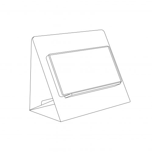 Cardboard phone stand promotional item with custom artwork, easy to assemble - outline