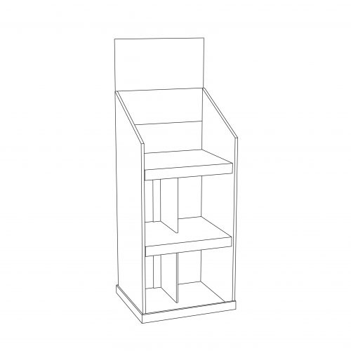 Reinforced custom Cardboard floor display with header and 2 shelves with a separator in the middle. Can hold bottles and heavy objects - outline