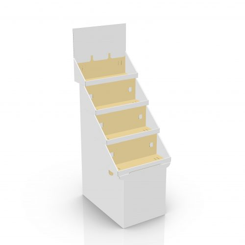 Cardboard floor display with 4 stacked trays and a header, placed on a base - 3d