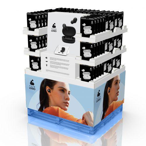 48'' x 40'' Palette Multimédia pour écouteurs, avec en-tête et présentoirs pour cartes de bon. Un démonstrateur est placé au centre, protégé par une coquille de plastique faite sur mesure.